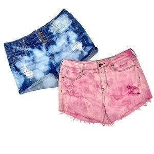 Acid Wash Destroyed High Rise Denim Mom Shorts 9
